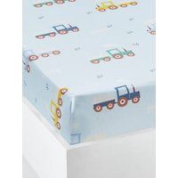 Fitted Sheet for Children, A LA FERME blue medium all over printed