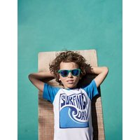 Two-Tone T-Shirt with Surf Motif, for Boys white light solid with design