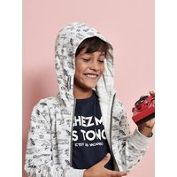 Jacket with Hood, Zip and Surfing Motifs for Boys grey light mixed color