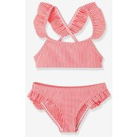 2-piece Striped Bikini With Ruffles For Girls Orange Bright All Over Printed