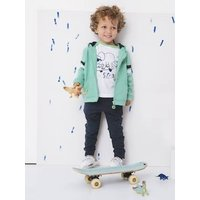 Jacket with Zip, Fancy Stripes, for Boys green bright solid with desig