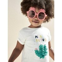 Mini Cactus' T-Shirt, for Baby Girls white light solid with design