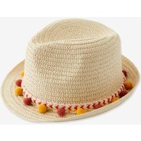 Panama-Type Straw Hat with Ribbon and Pompons for Girls orange medium solid