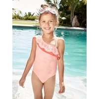1-piece Swimsuit For Girls, Asymmetrical Ruffle Orange Bright Solid