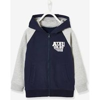 Zipped Jacket with Hood for Boys blue dark solid with design