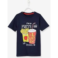 T-shirt with Fun Motif, for Boys blue dark solid with design
