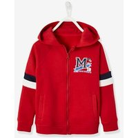 Zipped Jacket with Hood and Colourblock Effect for Boys red dark solid with design