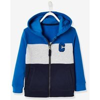 Jacket with Hood, Colourblock Effect, for Boys blue dark solid with design