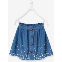Printed Denim Skirt, for Girls blue dark all over printed