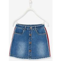 Denim Skirt for Girls, Side Stripes blue dark wasched