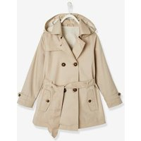 Trench Coat with Removable Hood, for Girls blue dark solid