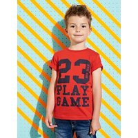 T-Shirt with Inscription, for Boys red dark solid