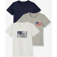 3er-Pack Kurzarm-Unterhemden Jungen, Stretch weiß/grau/blau Gr. 86 von vertbaudet
