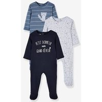 3 Baby Strampler, Druckknöpfe hinten nachtblau Gr. 50 von vertbaudet