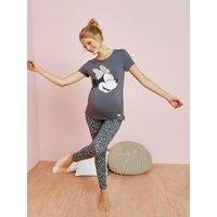 Pijama de embarazo 2 prendas Minnie® con motivo con brillantes negro medio liso con motivos