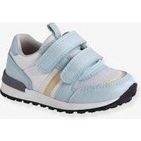 2db4559aa936 Zapatillas deportivas estilo running con tiras autoadherentes bebé niña  azul claro liso con motivos