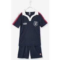 Conjunto polo + short rugby FFR® niño azul oscuro liso con motivos