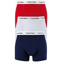 Calvin Klein Mens Trunks (3 Pack), Red/Navy/White, Size L, Men