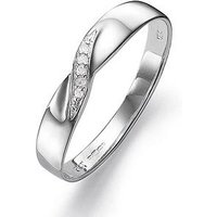 Love GOLD 9 Carat White Gold Diamond Set 3mm Wedding Band, Size T, Women
