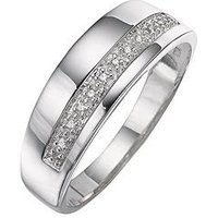 The Love Silver Collection Silver and Diamond Band Ring, Size Z, Women