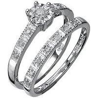 Love DIAMOND Sterling Silver 13 Point Diamond Bridal Set, Size H, Women
