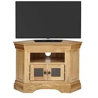Product photograph showing Luxe Collection Constance Oak Ready Assembled Corner Tv Unit - Fits Up To 50 Inch Tv