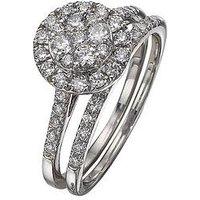 Love DIAMOND 9 Carat White Gold 100pt Diamond Bridal Set, Size O, Women