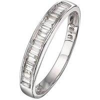 Love DIAMOND 9 Carat White Gold 30 Point Diamond Baguette Stone Wedding Band, Size K, Women