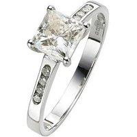 Moissanite 18 Carat White Gold 100pt Equivalent Square Ring, Size I, Women