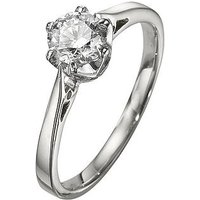 Love DIAMOND 9 Carat White Gold 50pt Diamond Certified Solitaire Ring (with certificate), Size L, Women