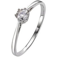 Love DIAMOND 9 Carat White Gold 25pt Certified Solitaire Ring, Size R, Women