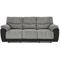 Product photograph showing Sienna Fabric Faux Leather 3 Seater Recliner Sofa