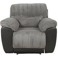 Product photograph showing Sienna Fabric Faux Leather Recliner Armchair