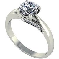 Moissanite 18 Carat White Gold 1.1 Carat Brilliant Solitaire Ring with Stone Set Mount, Size Q, Women