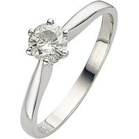 Moissanite 9 Carat White Gold 50pt Solitaire Ring, Size L, Women
