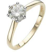 Moissanite 1 Carat Solitare 9 Carat Yellow Gold Ring, Size J, Women