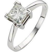 Moissanite 9 Carat White Gold Princess Cut 105pt Equivalent Ring, Size Y, Women