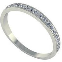 Moissanite 18 Carat White Gold 25pt Wedding Band, Size U, Women
