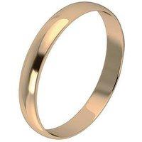 Love GOLD 9 Carat Yellow Gold D Shape Wedding Band 3 mm, Size M, Women