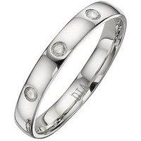 Love GOLD 9 Carat White Gold 3mm Ladies Wedding Band with Diamond Detail, Size N, Women