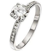 Moissanite 9 Carat White Gold 1.10pt Equivalent Solitaire Ring with Set Shoulders, Size S, Women