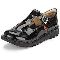 Kickers Girls Kick Patent T-bar Shoes, Black, Size 3