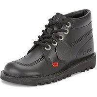 Kickers Leather Mid-top Boot, Black, Size 3 (36), Women