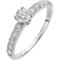 Love DIAMOND 9 Carat White Gold 1 Carat Diamond Solitaire and Set Shoulders Ring, Size L, Women