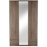 Product photograph showing Cologne 3-door 2-drawer Mirrored Wardrobe