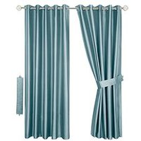 Thermal Faux Silk Blackout Eyelet Curtains