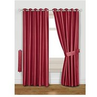 Faux Silk Blackout Thermal Eyelet Curtains With Tie-Backs