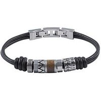 Fossil Mens Leather Bracelet Stainless Steel Roundels And Adjustable Closure, Men