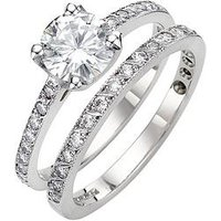 Moissanite 9 Carat White Gold 1.4 Carat Two Piece Bridal Set, Size N, Women