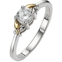 KeepSafe Ladies Dress Ring in Silver and 9-Carat Gold with Cubic Zirconia Setting, Size T, Women